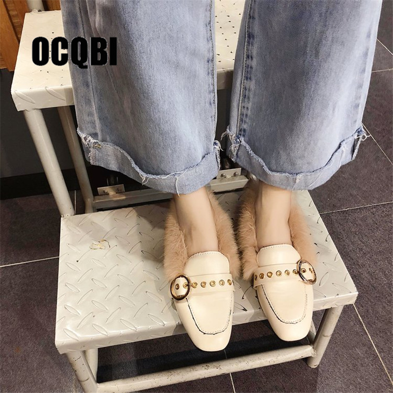 b49f566fc01 women winter mules metal buckle square toe moccasins fluffy fur shoes woman  keep warm loafers woman comfort furry flats shoes