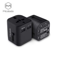 Mcdodo International Travel Power Adapter with 2.4A Dual USB Charger & Worldwide AC Wall Outlet Plugs for UK, US, AU, Europe