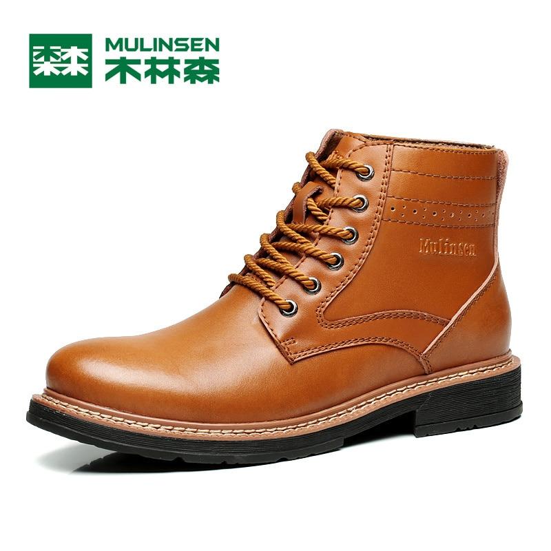 Mulinsen Autumn Winter Men s Sports Hiking Shoes Black Brown Sport Shoes Leather Wear Non slip