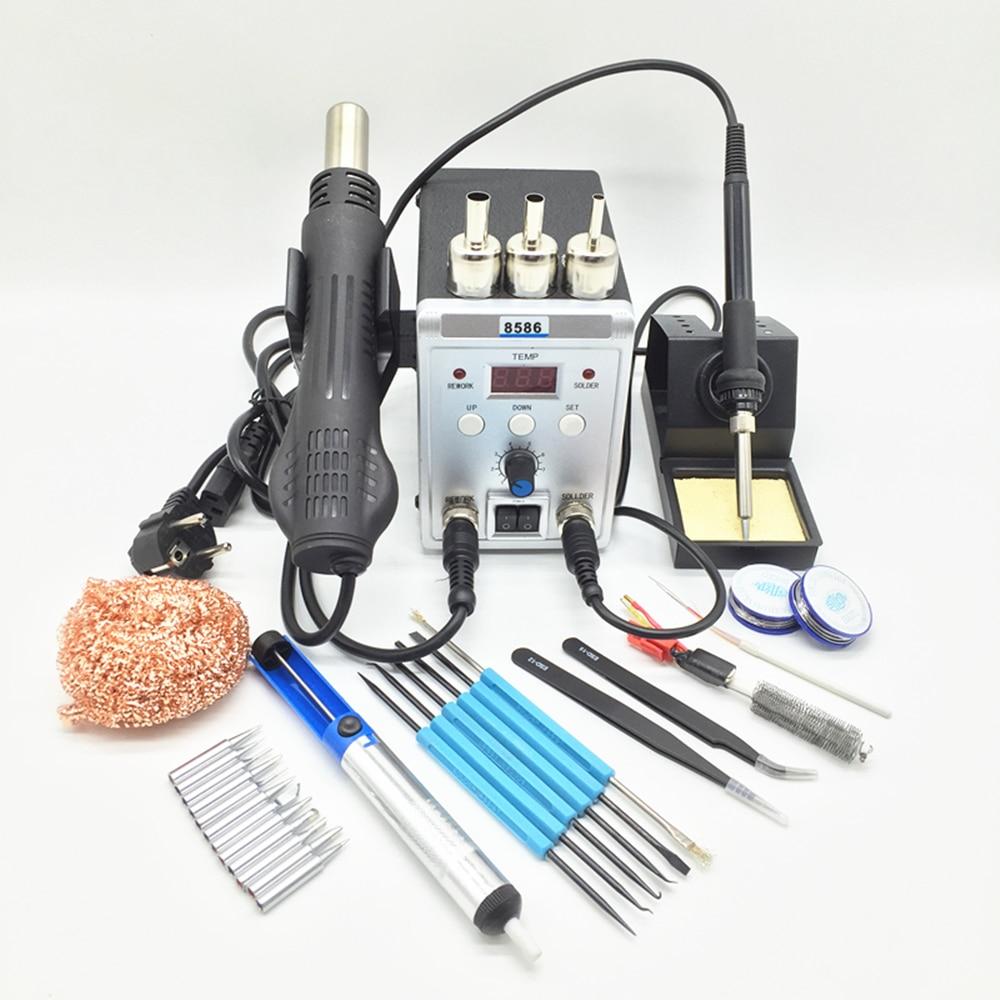Novo Display Digital estação Retrabalho 8586 2in1 Ferro De Solda E Pistola de Ar Quente Secador de Cabelo Elétrico Com kit ferramenta de Reparo