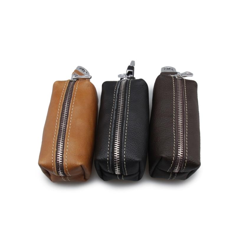 Fashion Genuine Leather Housekeeper Small Key Holder Hasp Mens Key Chain Wallet Keys Holder Portable Organizer (custom available