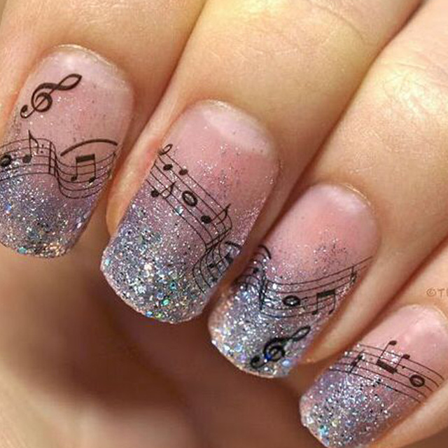 1 Sheets Beauty Music Note Designs DIY Creative Tips Toes Sticker ...