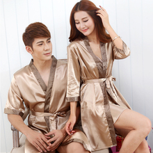 Imitation Silk Couples Dress Robes Sets Champagne Color Drop Shipping(China)