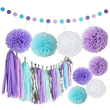 New Style Purple Paper Flower Ball Paper tassel paper string Birthday Party Backdrops Decoration Baby Shower Wedding Decor(China)