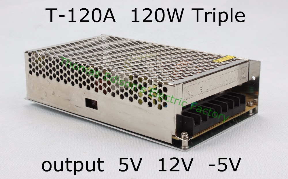 Triple output power supply 120w 5V 11A, 12V 5A, -5V 1A power suply T-120A ac dc converter good quality d 120a dual output switching power supply 120w 5v 12a 12v 5a ac to dc power supply ac dc converter