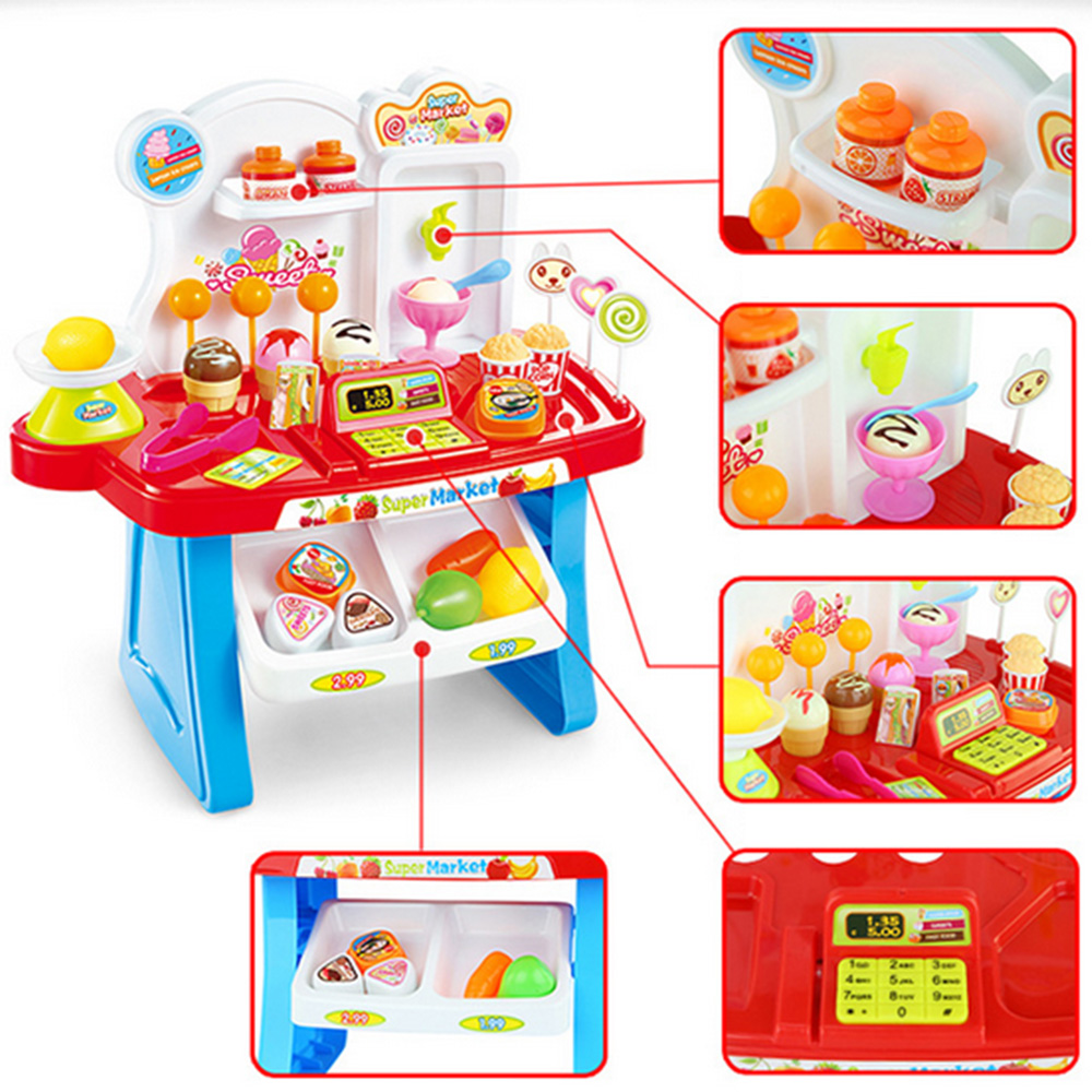 34 Pcs Kids Plastic Supermarket Cash Register Toy Miniature Pretend Play House Toys Shopping Brinquedo Cashier Desk POS Toy Set Multan