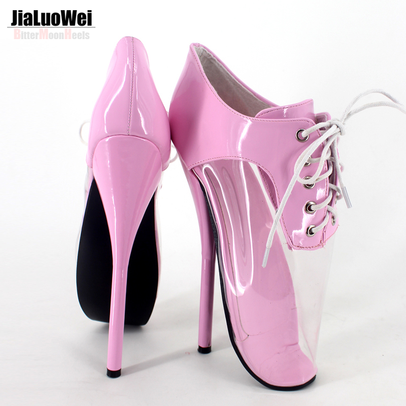ФОТО Jialuowei 2017 New Models Fashion Transparent High-heeled Shoes 7inch high heel ballet sexy pumps unisex plus size free shipping