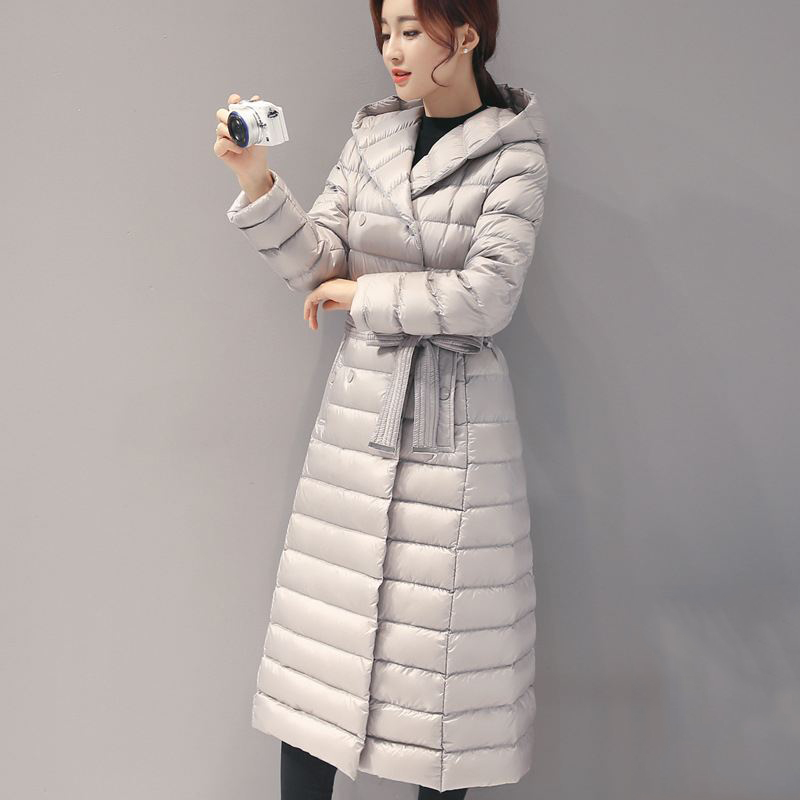 55c89b4dc73a 2018 Autumn Winter Women Duck Downs Jacket Sashes Long Down Overcoat Ladies  Ultra Light Outwear Hooded