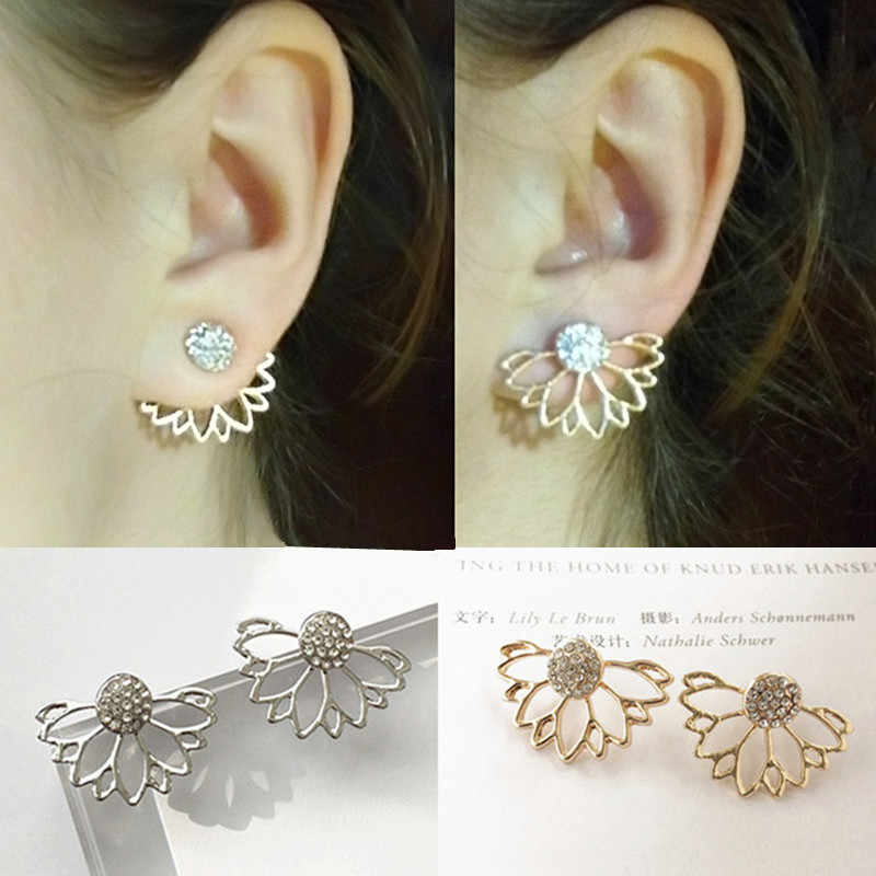 2019 Lotus Crystal Flower Stud Earrings For Women Fashion Jewelry Double Sided Gold Silver Plated Earrings Wholesale