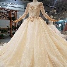 LS321454 free shipping muslim wedding gowns o-neck three quater sleeve ball  gown flowers wedding dresses 2018 latest design 19e0f72fbd9b