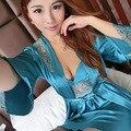 Mujer del verano 2 UNIDS Camisón de Seda de Las Mujeres Vestido Sin Mangas Del Sueño + coat Chica Homewear ropa de Noche de Satén de la Señora Sexy Pijamas 18