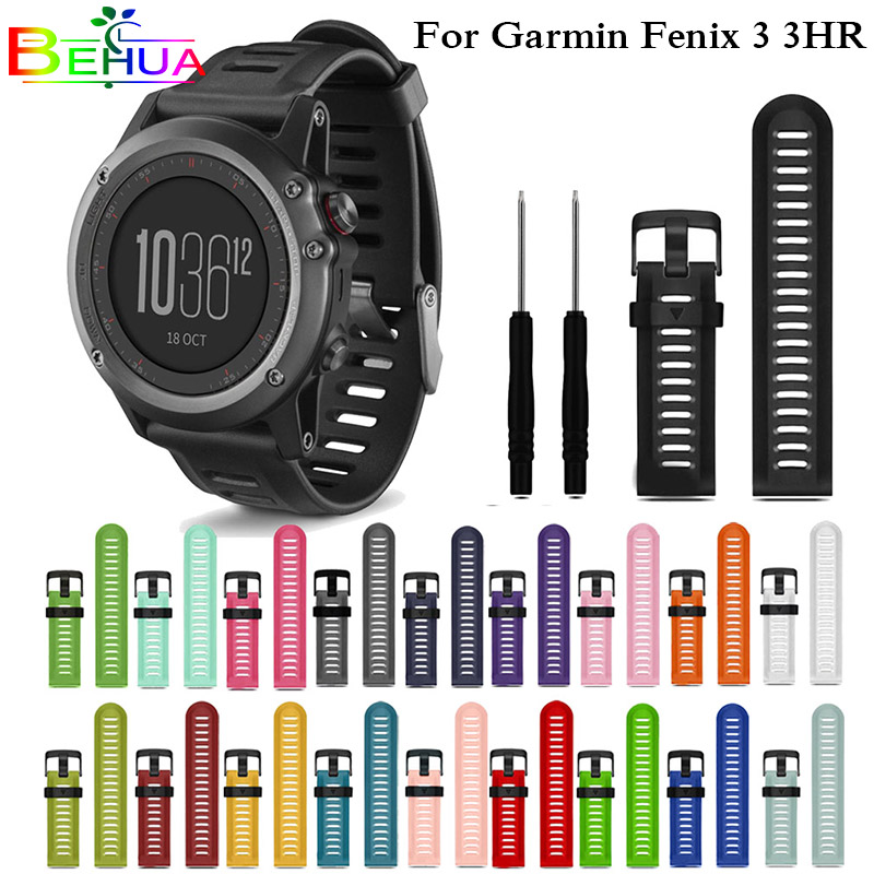 Colorful 26mm Width Outdoor Sport Silicone wrist Strap Watchband Replacement bracelte watch for Garmin Fenix 3 3 HR watch Band stainless steel watch band 26mm for garmin fenix 3 hr butterfly clasp strap wrist loop belt bracelet silver spring bar