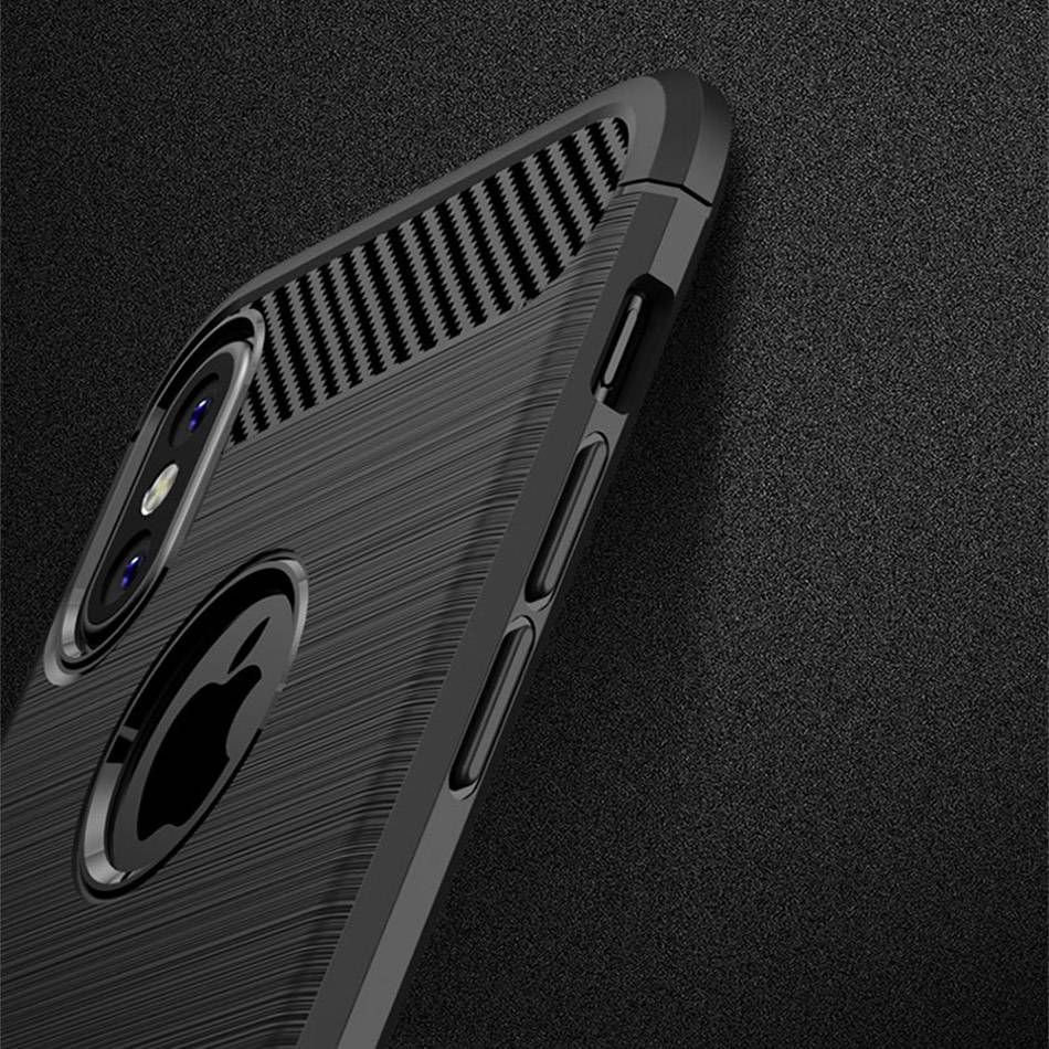 TOMKAS Phone Case Carbon Fiber Cover For iPhone XS Plus X 2018 5.8 6.1 6.5 Inch Soft TPU Silicon Case Protective Back Cover 2018 (20)
