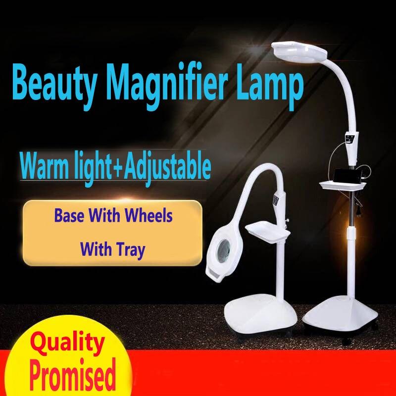30 w-68 w USB LED Magnifier Lampadaire avec 5 Roues Réglable Hauteur Loupe Lumière Avec Plug 110 -120 v pour Salon de Beauté