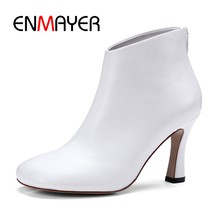 ENMAYER Hot selling white Donkey hoof boots high quality sheep skin high heels fashion ankle boots Size34-39 ZYL135(China)