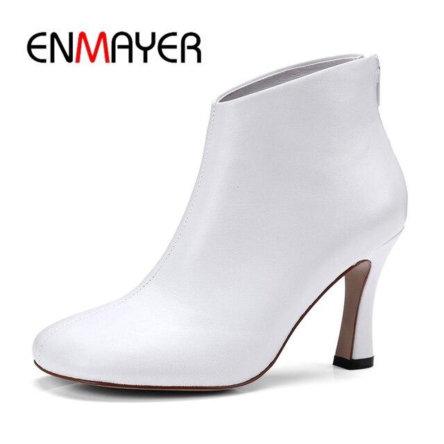 ENMAYER Sıcak satış beyaz Eşek toynak çizmeler yüksek kaliteli koyun derisi yüksek topuklu moda yarım çizmeler Size34-39 ZYL135