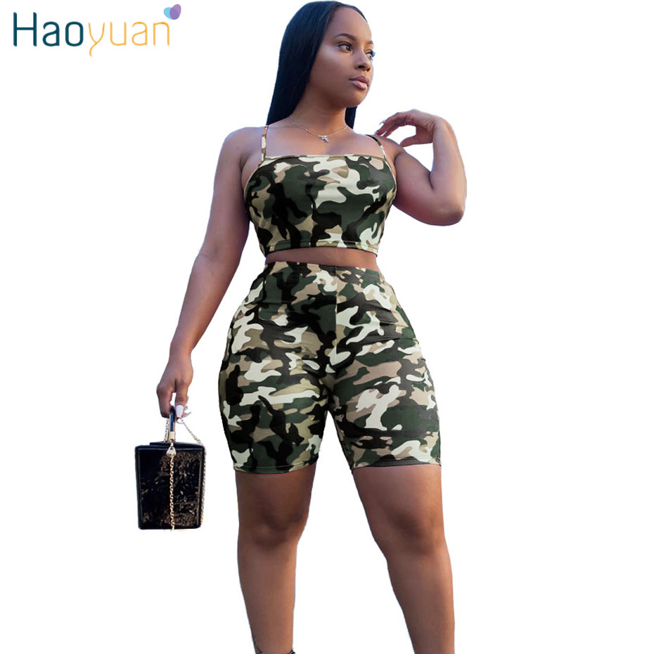 HAOYUAN Camouflage Print Two Piece Set Crop Top and Biker Shorts Plus Size Casual Sweat Suit Tracksuit 2 Piece Outfits for Women
