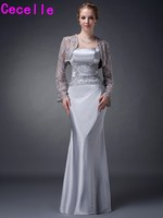 Sheath Long Silver Grey Long Lace Stretch Satin Elegant Mother Bride Dresses With Lace Jackets Plus