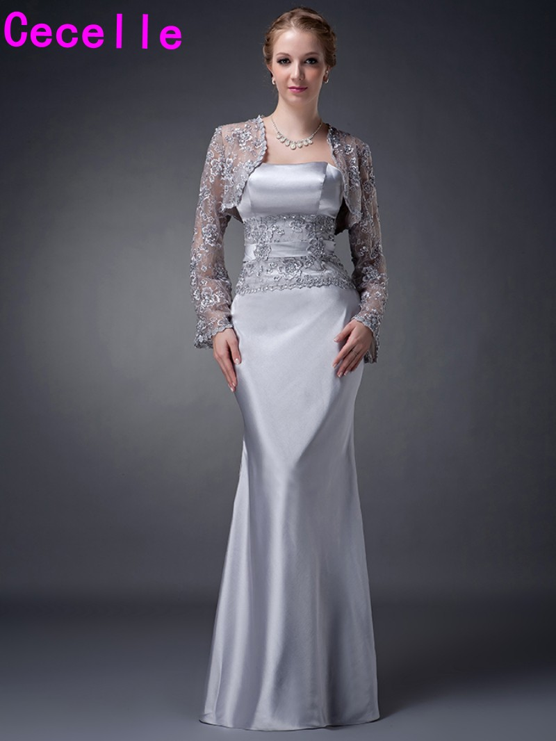 sheath long silver grey long lace stretch satin elegant