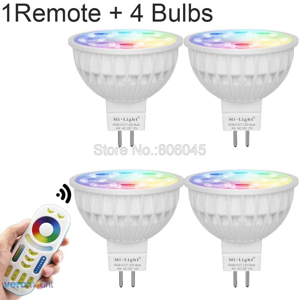 Milight 4W MR16 Dimmable LED Bulb 12V RGB+CCT (2700-6500K) WiFi Smart LED Spotlight Bulbs + 2.4G RF Wireless Remote Control