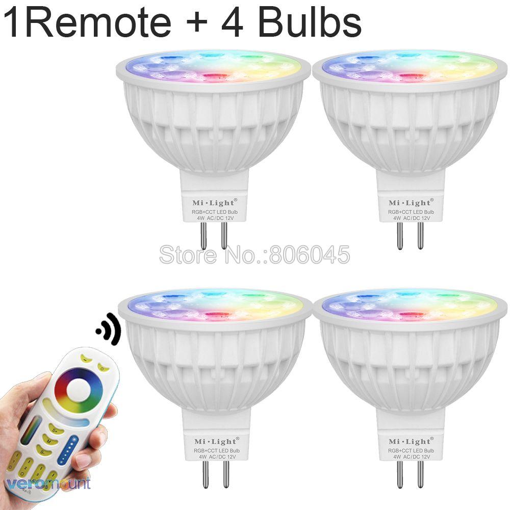 Milight 4W MR16 Dimmable LED Bulb 12V RGB+CCT (2700-6500K) WiFi Smart LED Spotlight Bulbs + 2.4G RF Wireless Remote Control