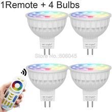 Lâmpada led leve 4w mr16, regulável, 12v, rgb + cct (2700-6500k) wifi inteligente led holofote lâmpadas + 2.4g rf controle remoto sem fio