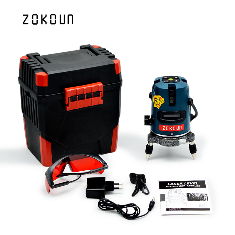 EU plug Zokoun 5 lines 6 points self-leveling tilt slash functional 360 degrees rotary outdoor mode OK laser level tools quality mtian level laser 5 lines 6 points instrument levels 360 self rotary 635nm corss line lazer level tools fast delivery