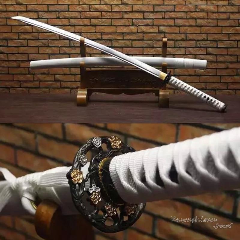 Handforged Japanese Katana Full Tang Real Steel With Blood Groove Handmade Samurai Sword White Saya Sharp Blade