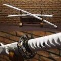 Handgeschmiedet Japanischen Katana Full Tang Echt Stahl Mit Blut Nut Handgemachte Samurai Schwert Weiß Saya Scharfe Klinge|steel katana|steel swordsteel shim -