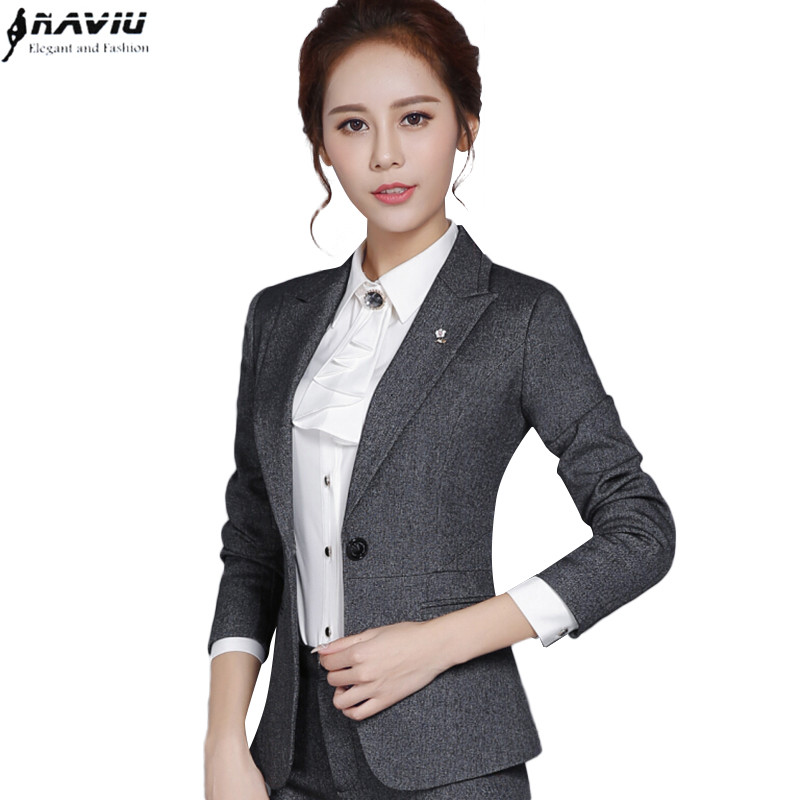 New Fashion Autumn Female Blazer Outerwear Slim Formal Plus Size Black Gray Long Sleeve Jacket Office Ladies Work Wear