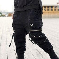 Большие размеры, Мужские штаны ниндзя с лентами в стиле хип-хоп, уличная спортивная одежда с заниженным шаговым швом на молнии, мужские слак...