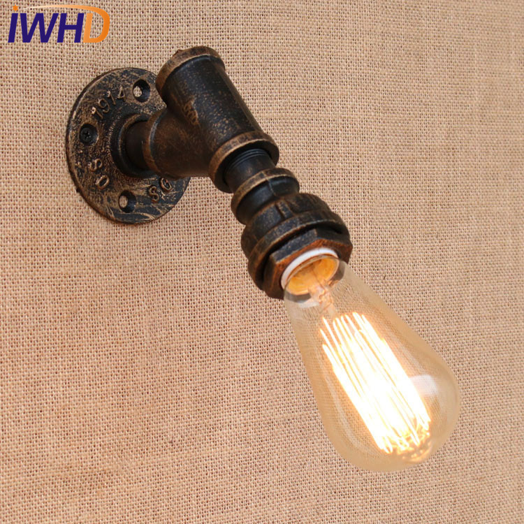 Nordic Style Industrual Wall Lamp Vintage Water Pipe Wall Sconce Bedroom Beside Light Decoration E27 Home Lighting LuminaireNordic Style Industrual Wall Lamp Vintage Water Pipe Wall Sconce Bedroom Beside Light Decoration E27 Home Lighting Luminaire
