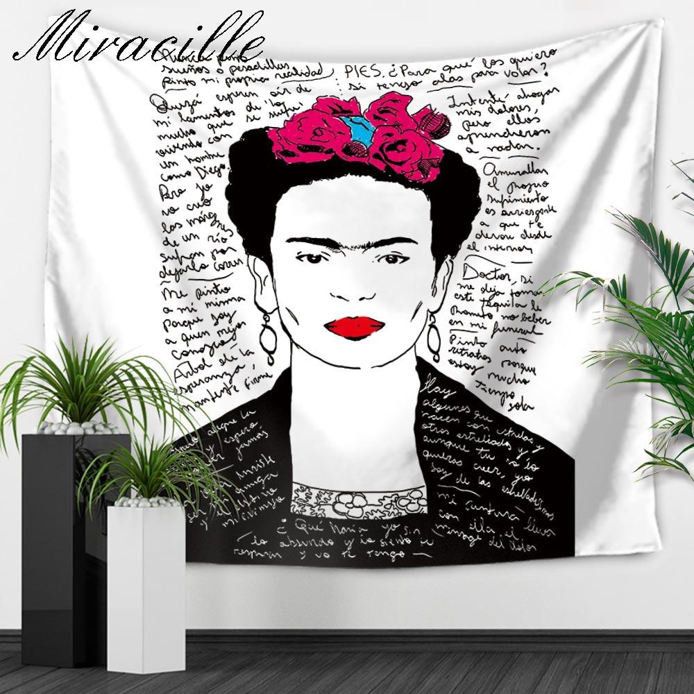 Miracille Mode Frida Kahlo Muster Home Wand Kunst Tapisserie Schlafzimmer Dekoration Hängen Wandteppiche Picknick-matte Sommer Strandtuch