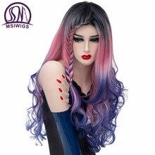 MSIWIGS ยาว Braids COSPLAY Wigs สำหรับผู้หญิง Rainbow Ombre Braiding สังเคราะห์วิกผมหยักธรรมชาติสีม่วงสีฟ้าสีชมพู