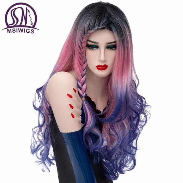 MSIWIGS Peluca de pelo largo con trenzas para mujer, cabello ondulado, trenzado sintético, arcoíris, Morado, azul y rosa
