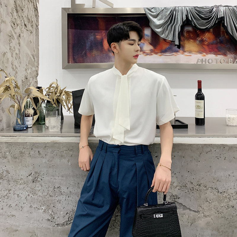 Men Loose Short Sleeve Tie Bow Casual Shirts Male Fashion White Black Party Dress Shirt Streetwear Clothing