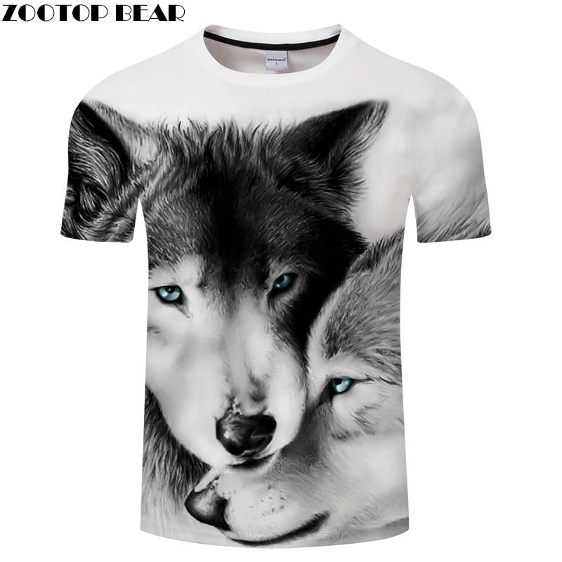 Lovers Wolves 3D Print t shirt Men Women tshirt Summer Casual Short Sleeve O-neck Tops&Tees Loose Outwear Drop Ship ZOOTOP BEAR