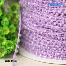 0.2CM Wide New purple bead Embroidery flower lace fabric trim ribbon DIY sewing applique collar cord dress wedding guipure decor(China)