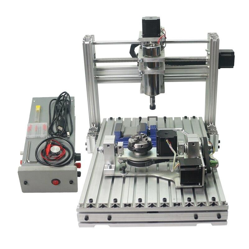 Mini diy cnc gravura fresadora de metal 3040 roteador de madeira com cortador pinça braçadeira kits de perfuração