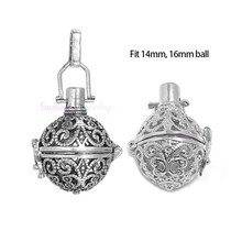 1pc Hollow Cage Filigree Ball Diffuser Necklace Locket Pendants For DIY Perfume Essential Oil Necklace Jewelry Christmas Gifts(China)