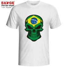 все цены на Mysterious Smile From Brazil Skull T Shirt Creative Novelty Active Funny T-shirt Skate Pop Punk Unisex Men Women Top Tee