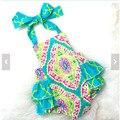Floral impressão Romper Do Bebê 2017 novo estilo de verão a roupa do bebê, meninas boutique roupa, Baby rompers Bolha projeto Das Flores