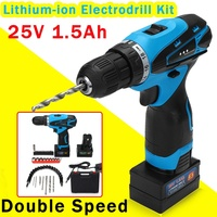 Doersupp 25V Electric Screw Driver Rechargeable Double Speed Lithium Ion Electrodrill Kit Electric Screwdriver Power Tools