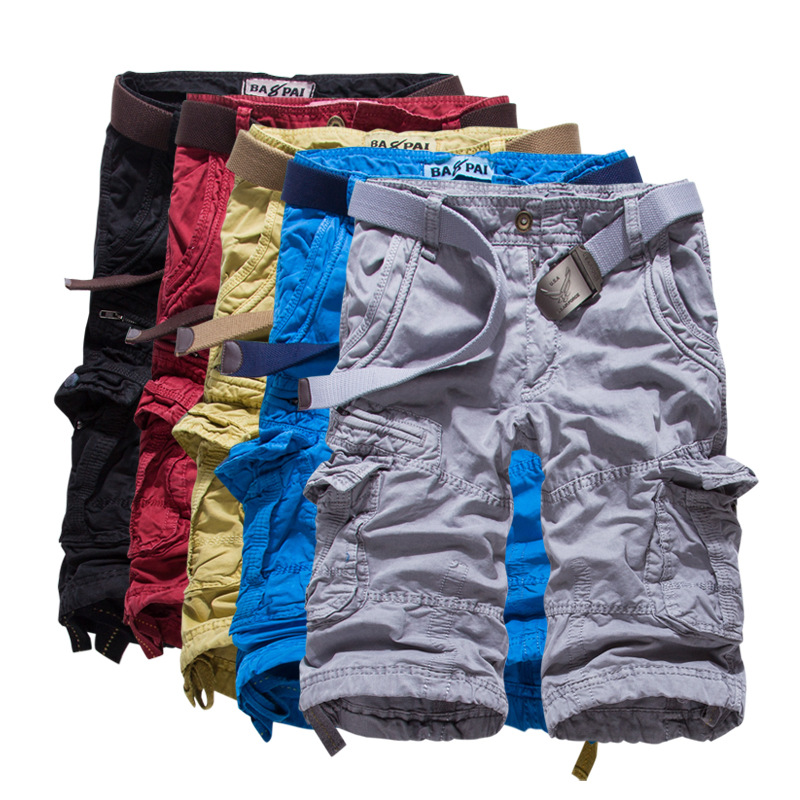 New 2018 British mens clothing overalls summer hot tooling 7 minutes of pants G389 candy color 7 minutes of pants cotton