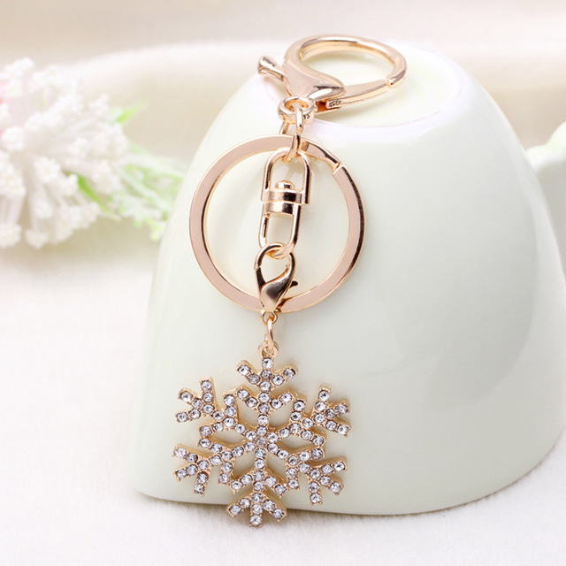 New Arrival Snowflake Keychain Gold Color Keyring For Women Jewelry Gift Cute Snowflake Key Chain