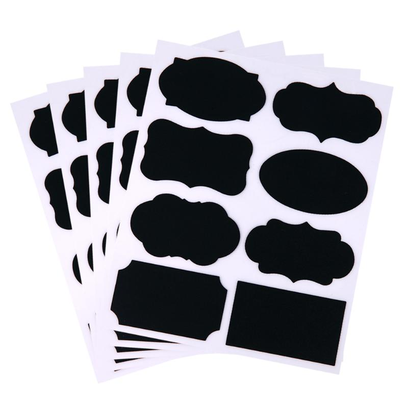 40Pcs PET Chalkboard Label Sticker Black Board Adesivos Kitchen Jar Blackboard Decoration Papelaria Stickers Office Supplies