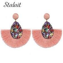 Luxury Crystal Tassel Earrings Big Long Dangle For Women Handmade Statement Fringe Engagement Jewelry