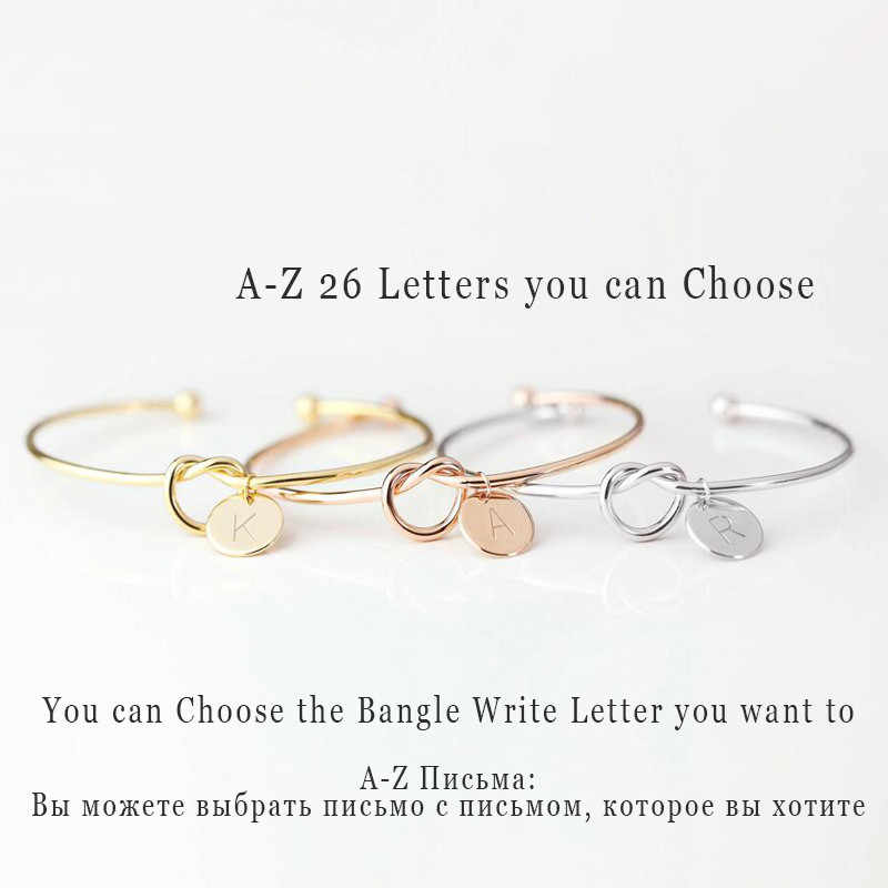 A-Z 26 Letters Knot Initial Bracelets Bangles Initial Charm Bracelet Girls Love Personalized Bangles for Women Jewelry Pulseiras