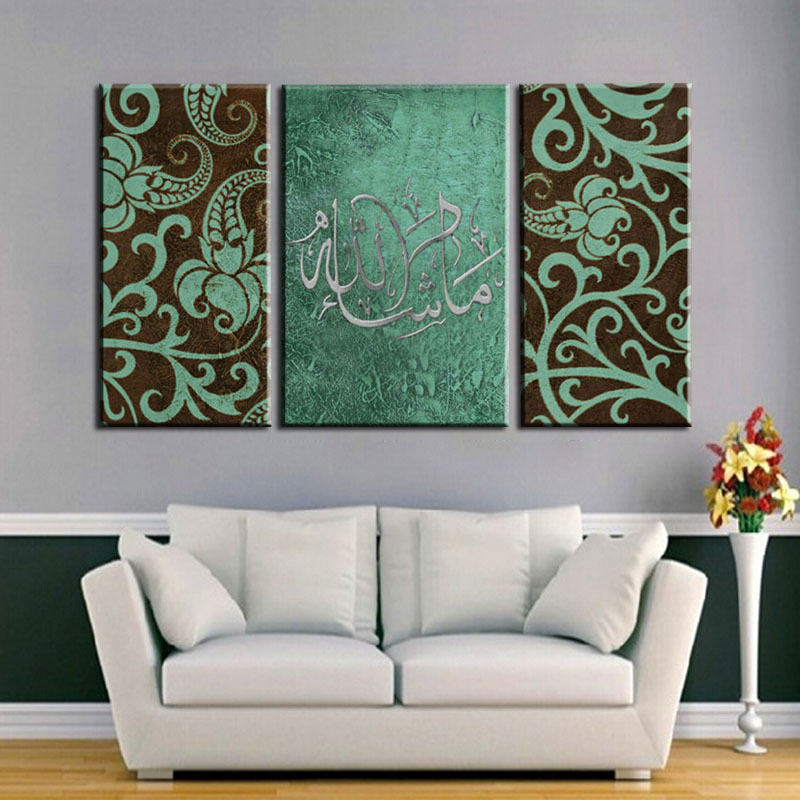 Unframed 3 panel handpainted islamic arabic canvas art oil for 3 panel painting