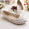LIN KING Handmade Bride Married Flat White Lace Flower Wedding Shoes Rhinestone Star Bridesmaid Shoes Flat Heel Women's Shoes